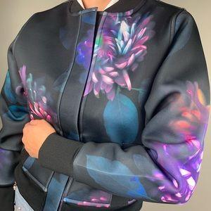 Donna Karan floral- printed Bomber Jacket